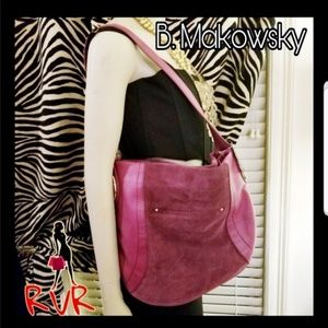 NWT AUTHENTIC B. MAKOWSKY SUEDE& LEATHER HOBO BAG